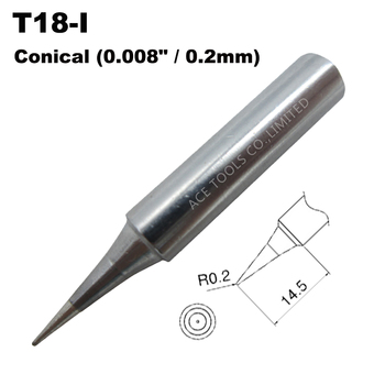 Soldering Tip T18-I Conical 0.2mm 0.008 Fit HAKKO FX-888 FX-888D FX-8801 FX-600 Lead Free Iron Handle Welding Bit Nozzle Pencil image