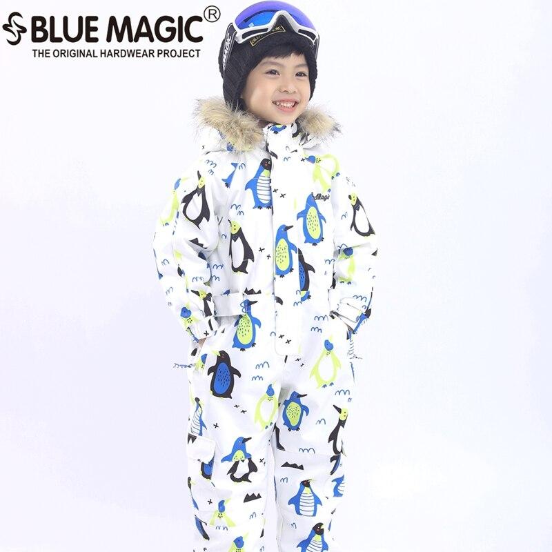 19 лыжных костюмов bluemagic для детей, водонепроницаемый комбинезон для прогулок на открытом воздухе для девочек и мальчиков, куртка для сноуборда Водонепроницаемый Лыжный комбинезон-30 градусов - Цвет: penguin