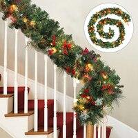 Рождественская гирлянда, 2,7 м, 160 веток, рождественские гирлянды, рождественские украшения, украшения для рождественской елки, гирлянда из р...