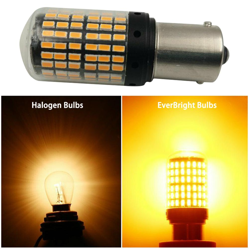 Newest 3014 144smd <font><b>led</b></font> <font><b>CanBus</b></font> 1156 BAU15S <font><b>PY21W</b></font> T20 <font><b>LED</b></font> Bulbs 3000K <font><b>PY21W</b></font> <font><b>led</b></font> lamp For Turn Signal Light No Flash super bright image
