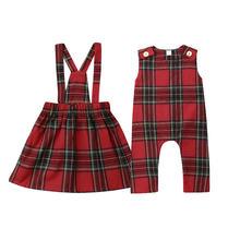 2020 Рождественская клетчатая одежда комбинезон для маленьких