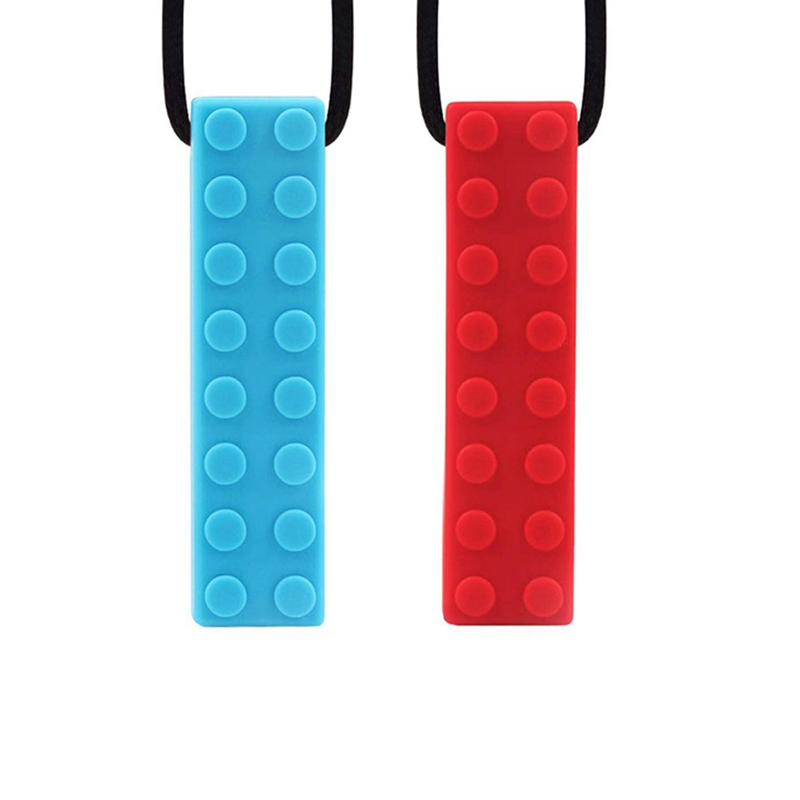 Baby Teething Silicone Blocks Teether Necklace Molar Sticks Children Biting Food Grade Chewing Mouth Molar Toy Lanyard Stick Wit