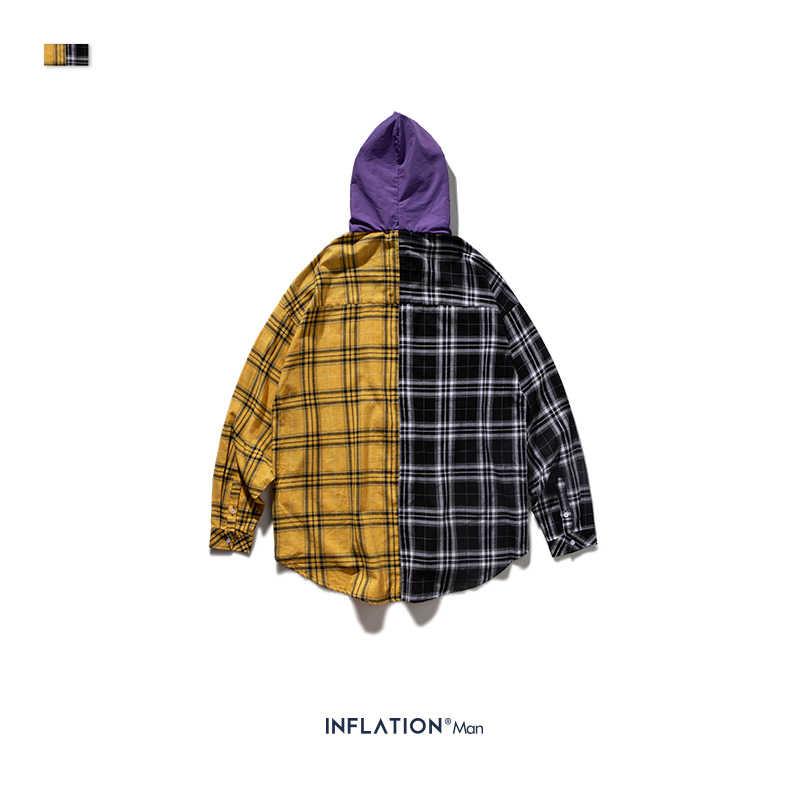 INFLATION 2019 AW camisa holgada a cuadros para hombres Camisa con capucha de gran tamaño en negro amarillo otoño franela con capucha 92132W