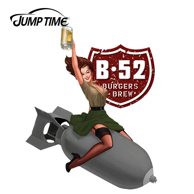 JumpTime 13cm X 9.9cm Sexy B52 Burgers And Brew Pinup Girl Signs Car Stickers Vinyl Car Decal Window Wiper Tailgate Styling