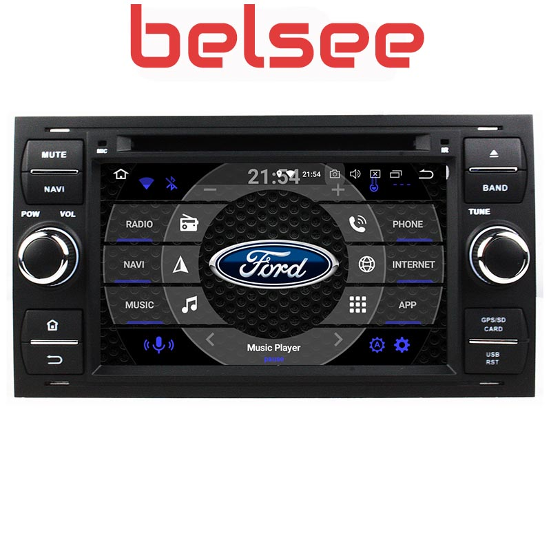 Belsee Android 9.0 Car Head Unit Navi Radio GPS for Ford Connect S-MAX C-MAX Fiesta Galaxy Mondeo Fusion Kuga Transit for focus