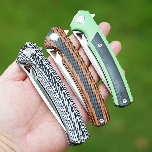 TWOSUN d2 folding Pocket Knife flipper knives tactical hunting knife survival outdoor tool EDC Ball Bearing Fast Open g10 TS81