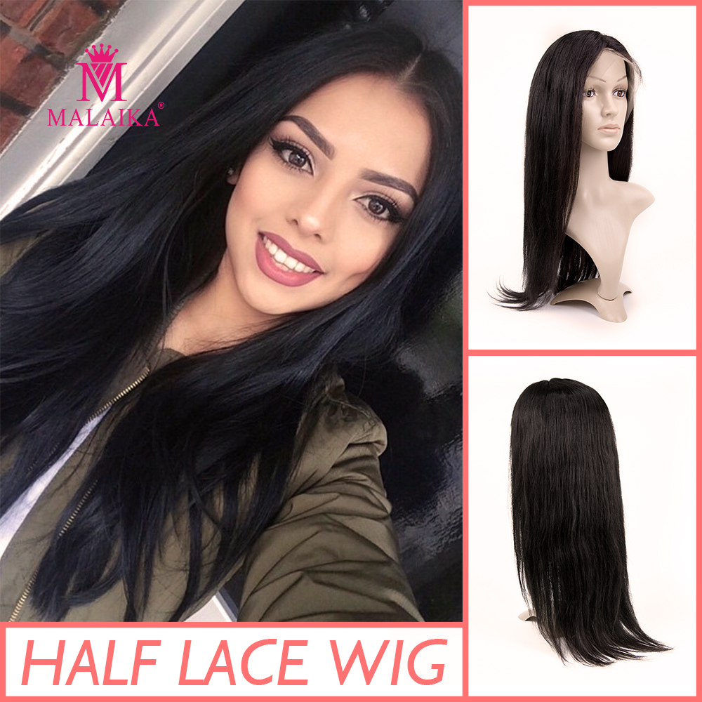 MALAIKA 100% Human Hair Natural Black Lace Front Wig Straight Human Hair Wigs For Women 13x4 Lace Front Wig