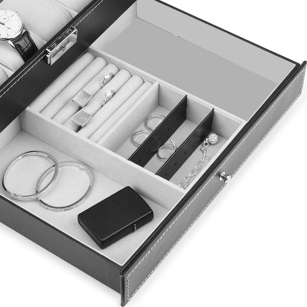 Affichage de bijoux mode Double couche 12 fente détachable montre organisateur boîte de rangement étui de collection Faux cuir montre boîte