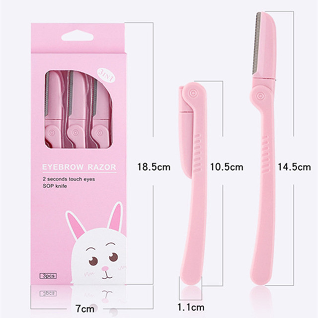 3Pcs/Set Pink Facial Eyebrow Trimmer Armpit Hair Razor Beauty Face Eye brow Shaper Shaver Stainless Steel Blades Makeup Tools 5