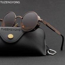 Gafas de sol clásicas y góticas Steampunk para hombre y mujer, lentes de sol polarizadas de marca de diseñador Vintage con marco redondo de Metal, UV400
