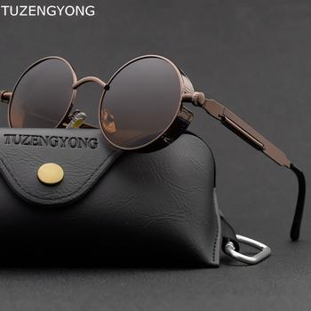 Klasyczne gotyckie okulary przeciwsłoneczne w stylu Steampunk spolaryzowane mężczyźni kobiety marka projektant Vintage okrągła metalowa ramka okulary przeciwsłoneczne wysokiej jakości UV400 tanie i dobre opinie TUZENGYONG CN (pochodzenie) WOMEN Polaroid ROUND Dla osób dorosłych STOP polaryzacyjne Przeciwodblaskowe 47mm T8028 UV400 UVB Polarized