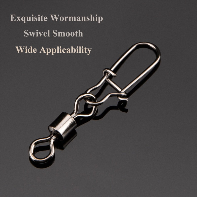 50Pcs 2# 4# 6# 8# Fishing Connector Pin Bearing Rolling Swivel Stainless Steel With Snap Fishhook Lure Tackle Fishing Accessorie