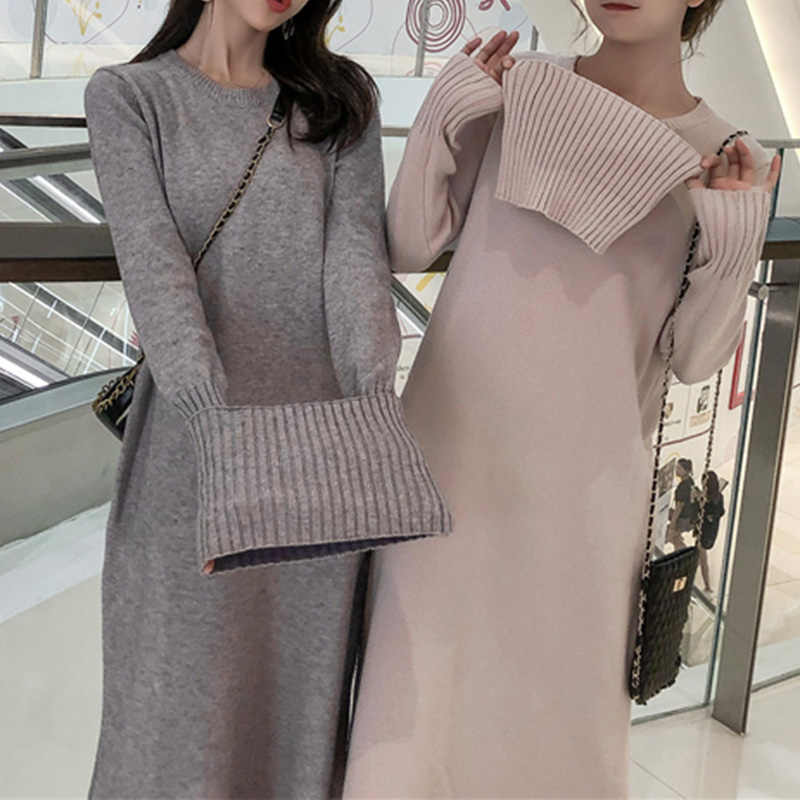 Turtleneck Sweater Dress Casual Loose Long Sleeve Knitting Dress Autumn Winter Warm Women Dresses 4 Color Vestidos