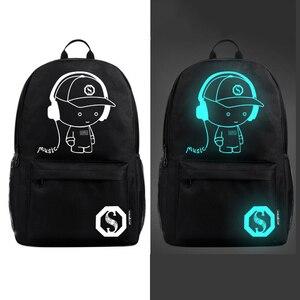 Image 4 - Aydınlık moda sırt çantaları öğrenci animasyon okul çantaları için erkek kız genç USB şarj bilgisayar anti hırsızlık Laptop sırt çantası