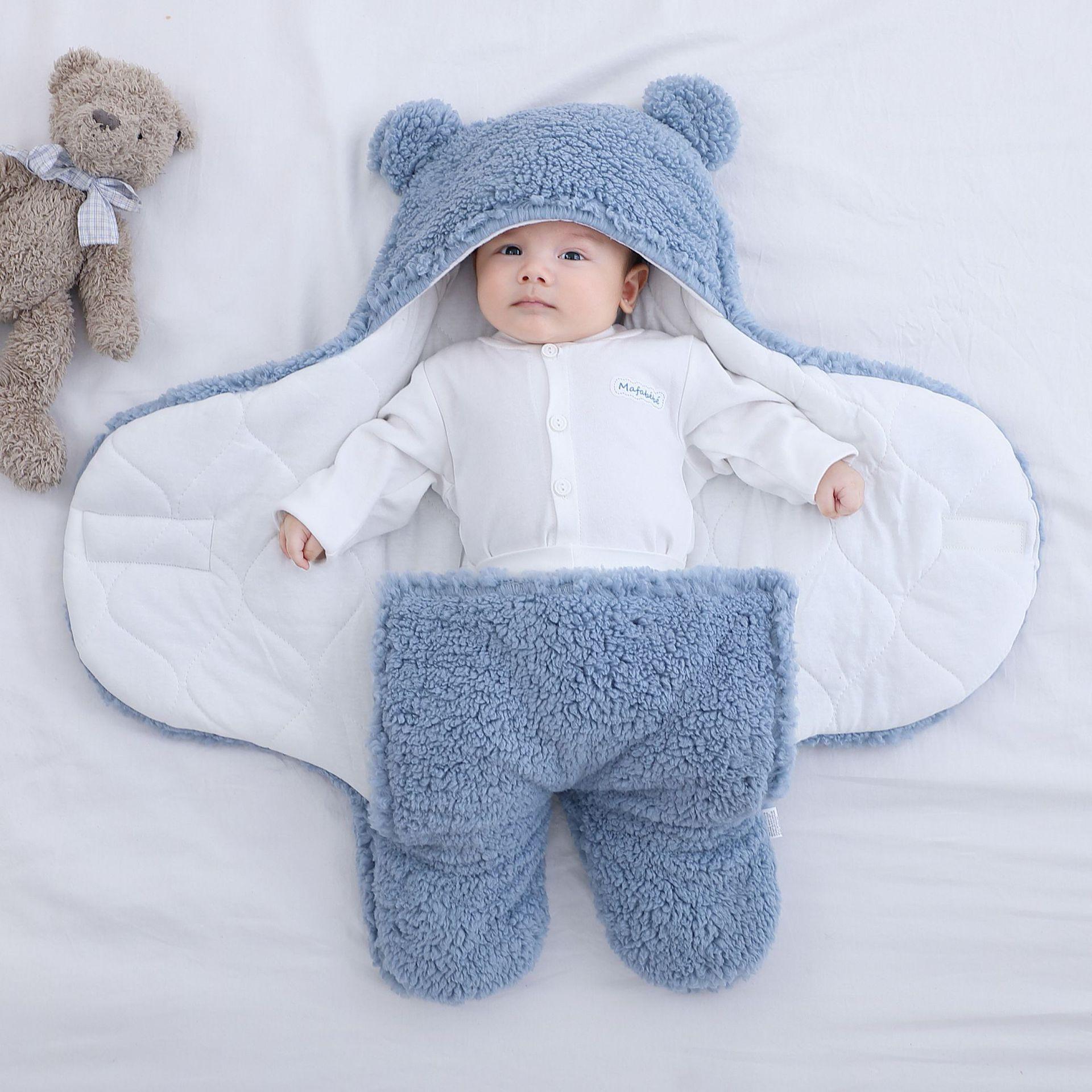 Baby Sleeping Bag Ultra Soft Fluffy Fleece Newborn Receiving Blanket Infant Boys Girls ClothesSleeping Nursery Wrap Swaddle