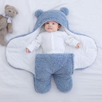 Baju tidur bayi bulu lembut berbulu lembut yang baru lahir menerima selimut pakaian bayi tidur membungkus pembibitan