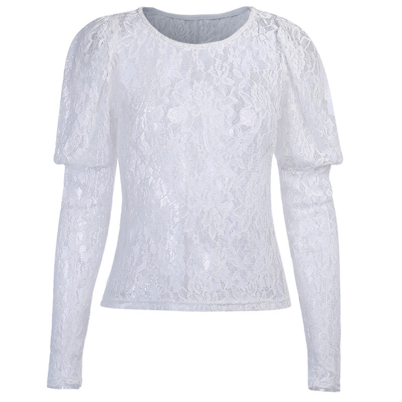 Prowow White Guipure Lace Blouse Women Long Sleeve Hollow Patchwork Mesh Sexy Tops Ladies Elegant Mesh Blouses 2020 Spring New