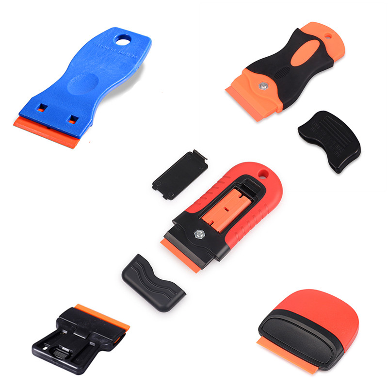 2 squeegee+100pcs Double Edged Plastic Razor Blade Window Glass Clean Scraper Carbon Fiber Wrapping Car Wrap Sticker Squeegee