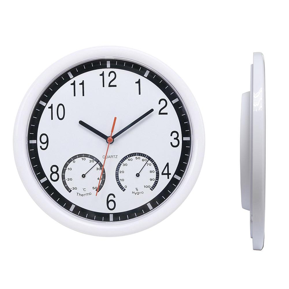 Hot Sale 10inch Thermometer Humidity Meter Display Modern Silent Home Living Room Kitchen Wall Clock