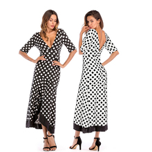 2019 New Women Dress Irregular Ruffled Large Size Dress Deep V-Neck Sexy High Waist Back Polka Dot Printing Dress Women Clothes plus crisscross v back glitter dot dress