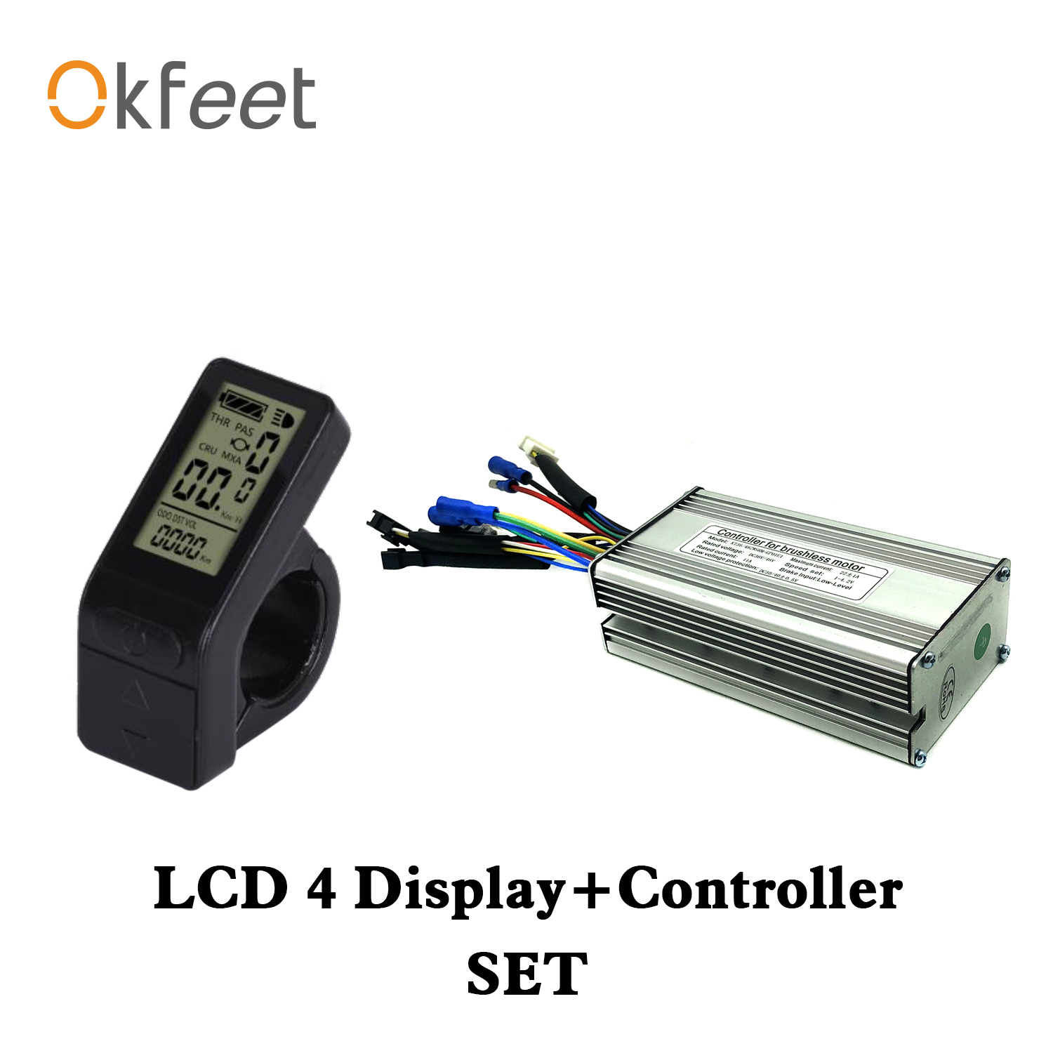 Okfeet KT Controller 250W 500W Motor 36V 48V 14A 22A Kunteng Controller LCD4 Display For Electric Bike Conversion Accessories