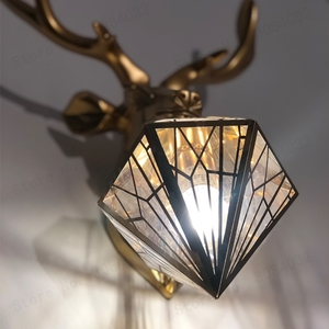 Image 5 - BDBQBL Vintage Creative LED Christmas Deer Antler Wall Lamp Deer Lamp Bedroom Buckhorn Kitchen Bar Decor Luminaire