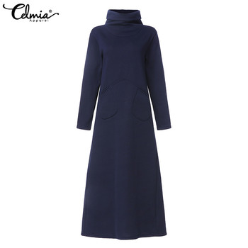 Women Turtleneck Vintage Winter Dress Celmia Autumn Solid Casual Loose Pockets Long Maxi Vestidos Robe Femme Plus Size Dresses 5