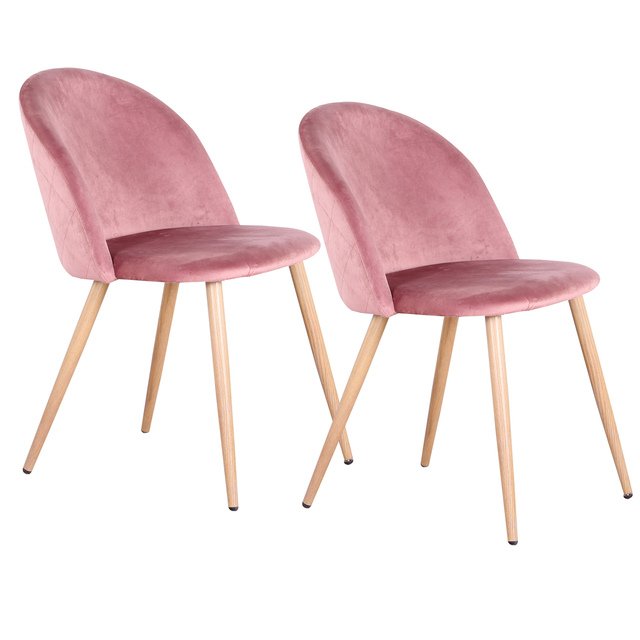 A Set Of 2 Dining Chairs With Soft Velvet And Metal Feet, Suit for kitchen, Dining Room, Living Room, Lounge (Pink/Green/Blue)))
