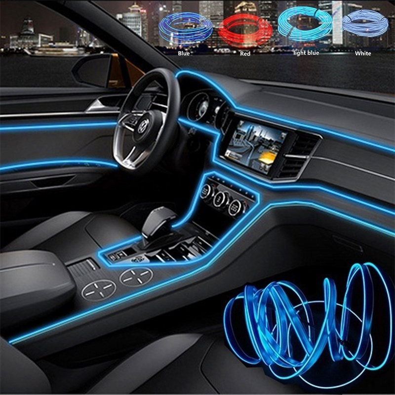 3m  Car 12V LED Cold Lights Flexible Neon EL Wire Auto Lamps On Car Cold Light Strips Line Interior Decoration Strips Lamps