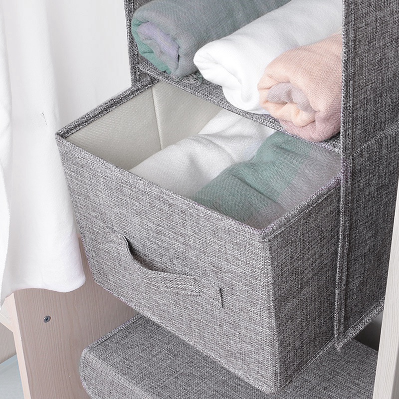 Multi-Layer Hanging Drawer Organiser Clothes Wardrobe Shelves Storage Garment Tidy Shoe Gray