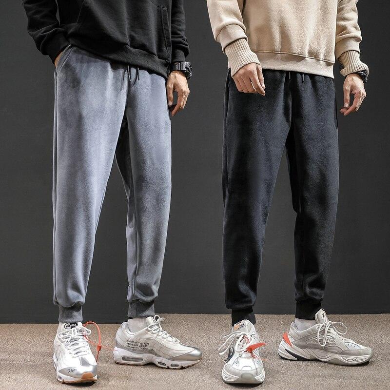 Winter Plus Velvet Thick Pants Men's Slim Fashion Solid Color Casual Joggers Pants Men Streetwear Hip Hop Drawstring Sweatpants