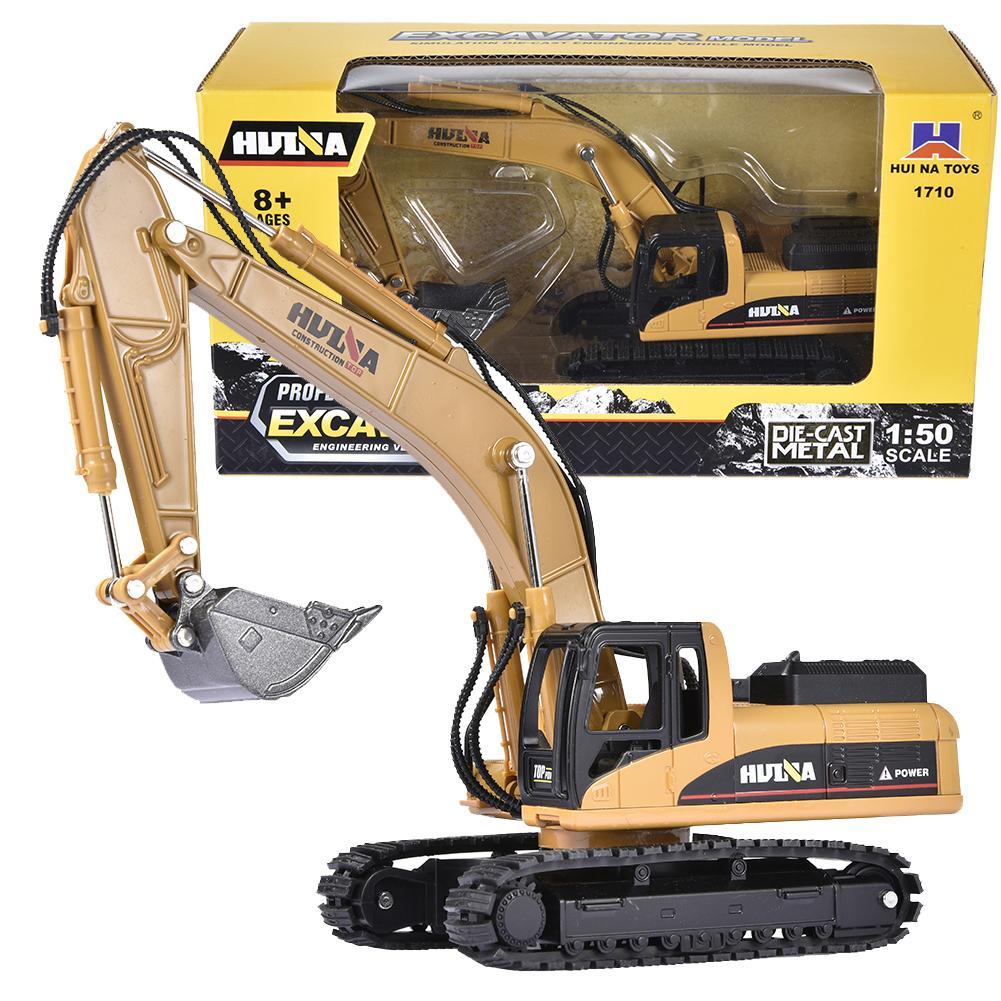 1/50 Alloy Diecast Crawler Excavator Construction Vehicles Engineering Vehicles Simulation Alloy Excavator Car Models Kids Toys