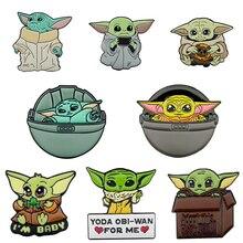 Anime Cartoon Star Wars Master Yoda Baby Enamel Brooches  Baby Yoda Lapel Pins Badges Jewelry For Children Kids Boys Girls цена 2017