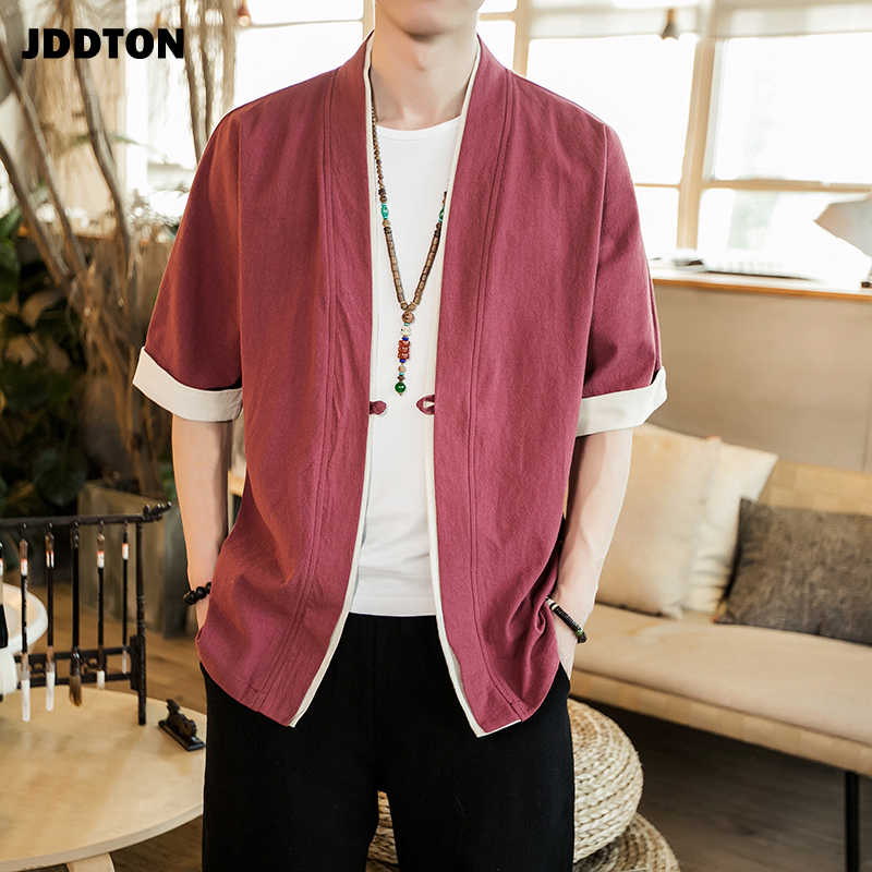 Jddton 여름 남성 리넨 기모노 롱 가디건 겉옷 패션 streetwear 짧은 루스 남성 자켓 캐주얼 오버 코트 je005