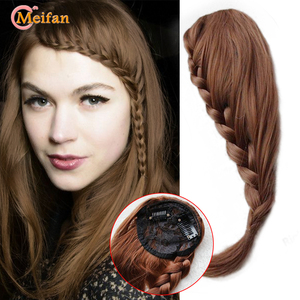 MEIFAN Synthetic Fishtail Plaited Braided Bangs Natural False Hair Bang Front Braids Fringe Clip In Hair Extensions for Women