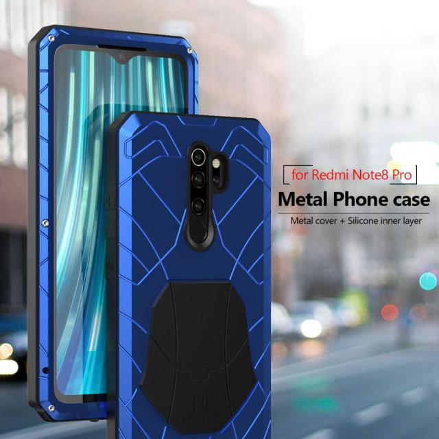 For Xiaomi Mi Redmi Note 8 Phone Case Hard Aluminum Metal Tempered Glass Screen Protector Heavy Duty Cover  for Redmi Note 8 Pro 4