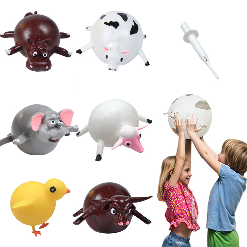 Children Bubble Ball Inflatable Toys Animal Toys Anxiety Stress Relief House Bill Balloon Squeeze Ball Kids Novelty Toy Gift