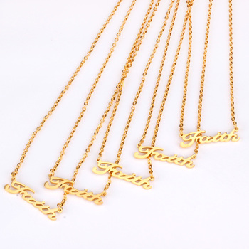 Luxukisskids Wholesale 5pcs Lots Girl Faith Pendant Necklace Collars Gold Rose Gold Chains Necklace Party Gift Leather Bag