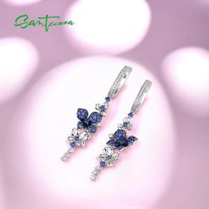 Image 4 - Женские серебряные сережки SANTUZZA из чистого серебра 925 пробы с синими бабочками, модные ювелирные изделия