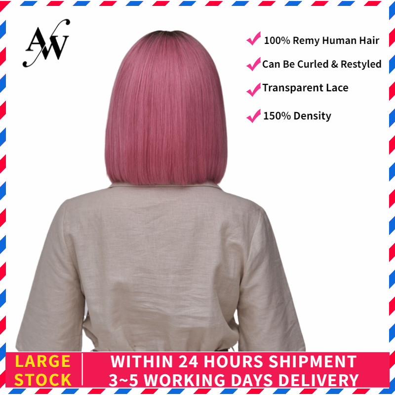 AW 10'' 12'' Hot Pink Straight Bob Lace Front Wig HD Transparent Pre Plucked Hairline Remy Human Hair Wig For Women 150% Density