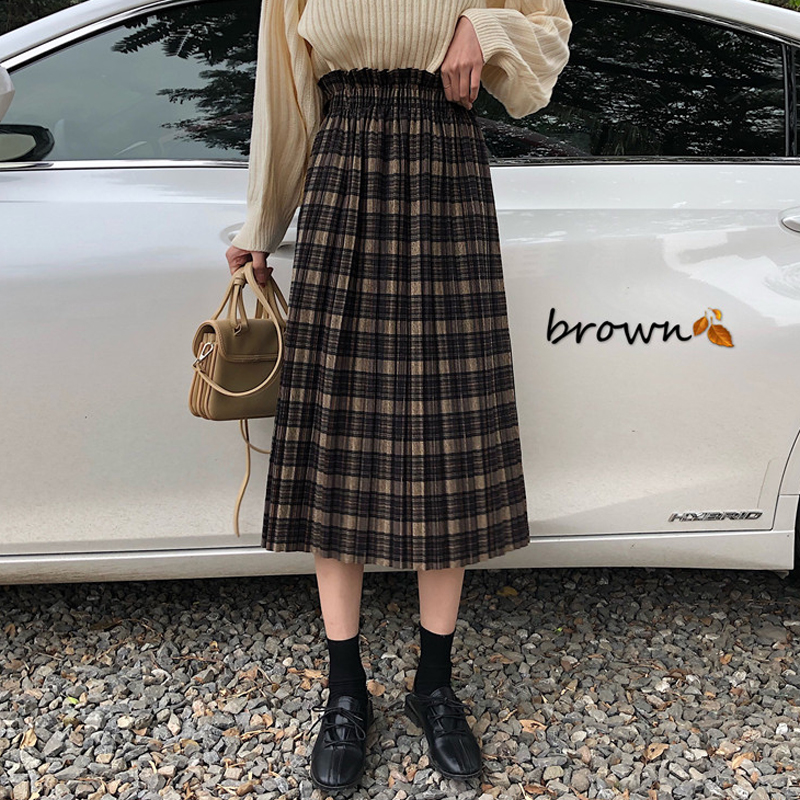 Vintage Plaid Pleated Long Skirts High Waist Winter Women Korean Woolen Skirt Streetwear Drawstring Elastic Waist Midi Skirt