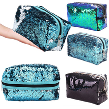 1Pc Cosmetic Bag Sequins Glitter Cosmetic Bags Double Color Sequins Handbag Makeup Pouch Women Mermaid Party Clutch Bags new zipper cosmetic bag fashion mermaid double sided color sequins cosmetic bag ladies cosmetic bag party bags free shipping