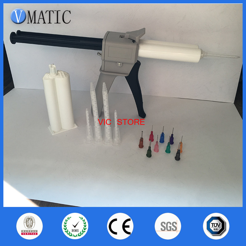 Free Shipping AB Glue Cartridge 2:1 1:1 Universal 50ML Manual Dispense Gun With Cartridge &Mixing Nozzle