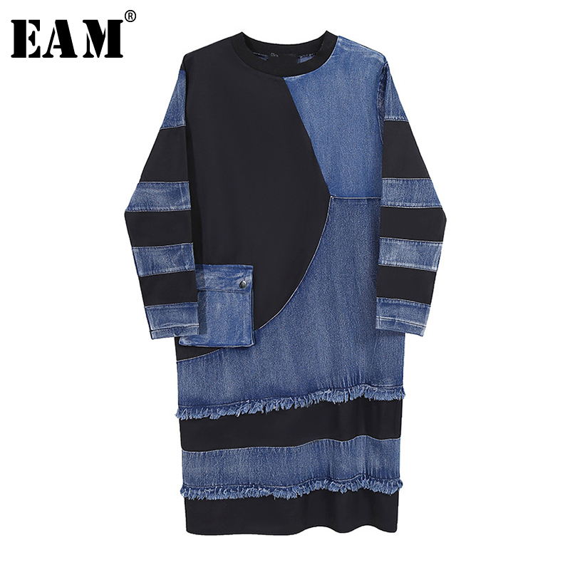 [EAM] Women Blue Denim Split Joint Big Sze Dress New Round Neck Long Sleeve Loose Fit Fashion Tide Spring Autumn 2020 1Z209