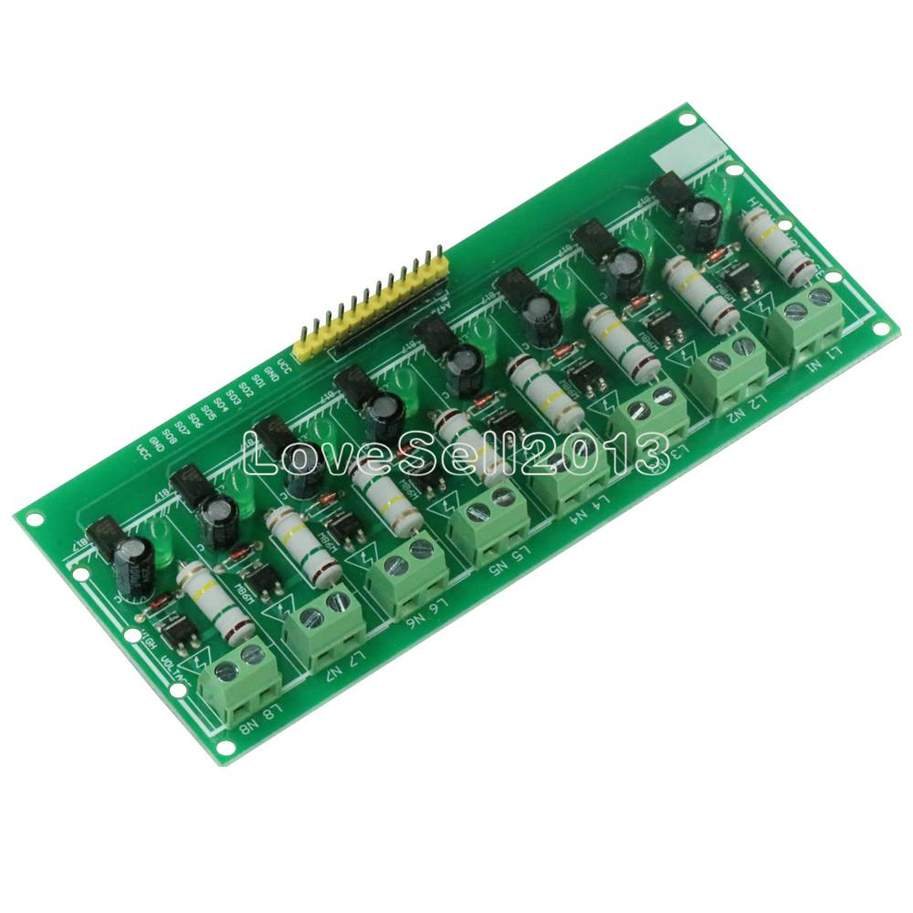 AC 220V 8 Channel MCU TTL Level 8 Ch Optocoupler Isolation Test Board Isolated Detection Tester Module PLC Processors