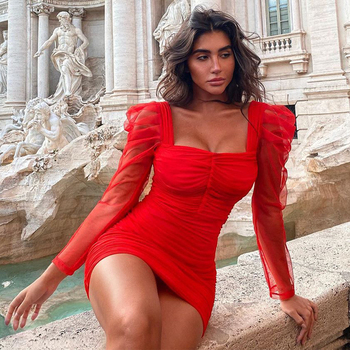 Ocstrade New Fashion Draped Mesh Bandage Dress 2020 Women Red Long Sleeve Bandage Dress Bodycon Sexy Club Evening Party Dresses american living new red poppy draped ruched women s 12 sheath dress $69 400
