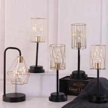 LED Small Night Light Iron Wire Table Lamp Dormitory Beside Diamond Creative Geometric Home Bedroom Decor