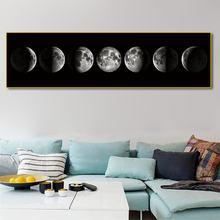 Минимализм полное затмение Луны постер искусство черно белые