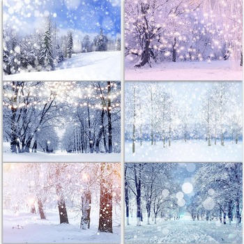Mocsicka Outdoor Winter Wonderland Photography Backdrops Forest Snowflake Bokeh Photographic Studio Photo Backgrounds mocsicka christmas winter snow night backdrops for photography christmas tree fence decor photographic studio photo backgrounds