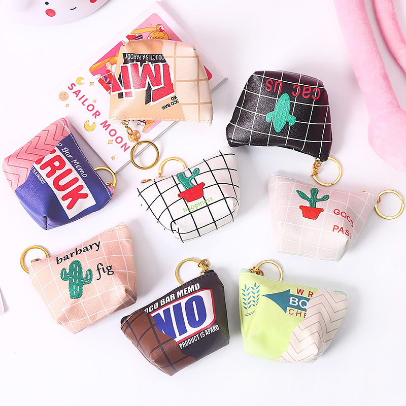 Latest Style Simple Cartoon Coin Wallet Small Fresh Short Zipper Small Coin Purse Mini Coin Bags Key Bag
